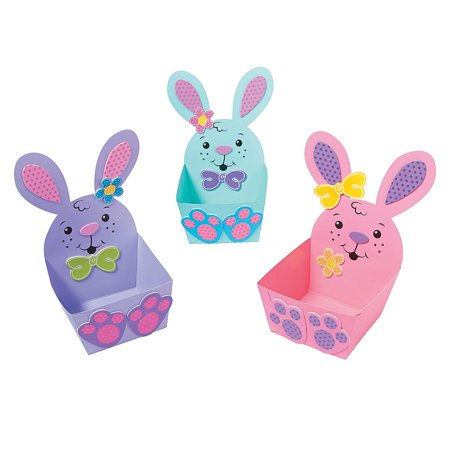 Fun Express - Easter Character Treat Basket CK-12 for Easter - Craft Kits - Home Decor Craft Kits - Containers - Easter - 12 - Fun Halloween Crafts And Treats
