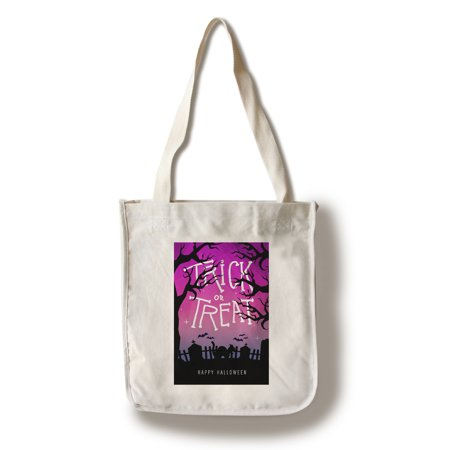 Happy Halloween - Trick or Treat - Graveyard Cat - Lantern Press Artwork (100% Cotton Tote Bag - Reusable)