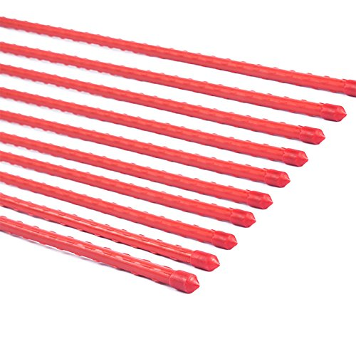 Mr.Garden, Red Color Plastic Coated Steel Tube Stakes, Dia 8MM x H 1.2M (20)