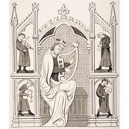 David Costume (King David Playing On The Lyre Surrounded by Four Musicians All Wearing Costumes of The 13th Century From Miniature In Poster Print, Large - 28 x)