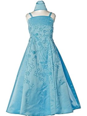 865d2f46177 Product Image BNY Corner Satin A-line Dress with Flower Beads for Flower  Girl   Big Girl