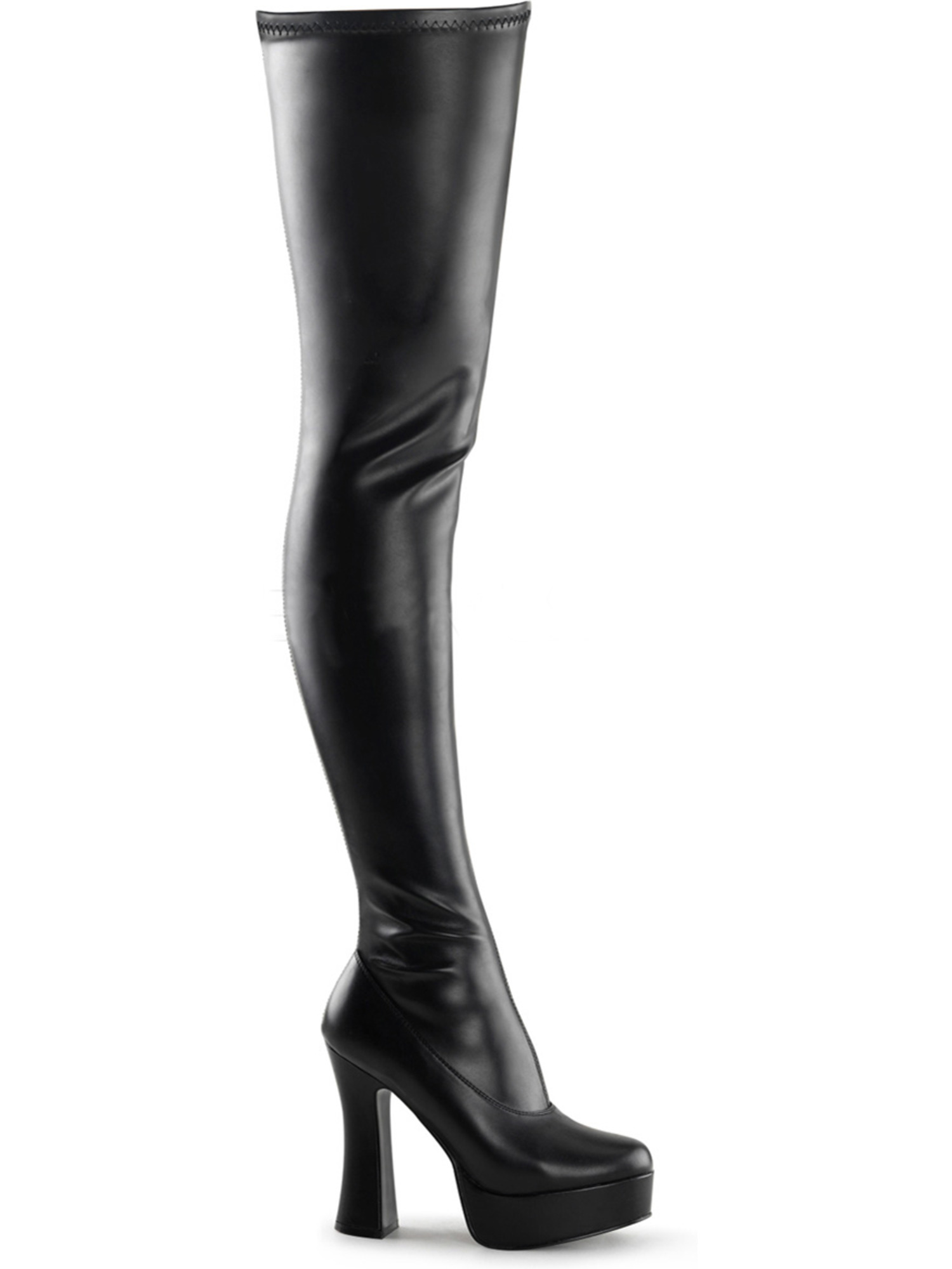 Women Matte Black Stretch Thigh High Boots 5'' with Side Zipper and 5'' Boots Stack Heels e5c233