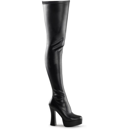 Women Matte Black Stretch Thigh High Boots with Side Zipper and 5'' Stack Heels