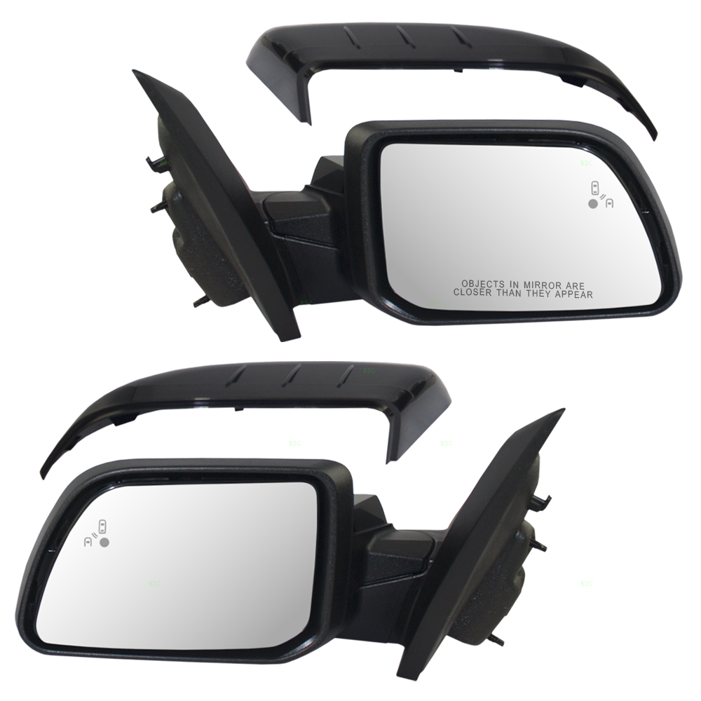 Pair Set Power Side View Mirrors Heated Puddle Lamp W Blind Spot Detection Replacement For