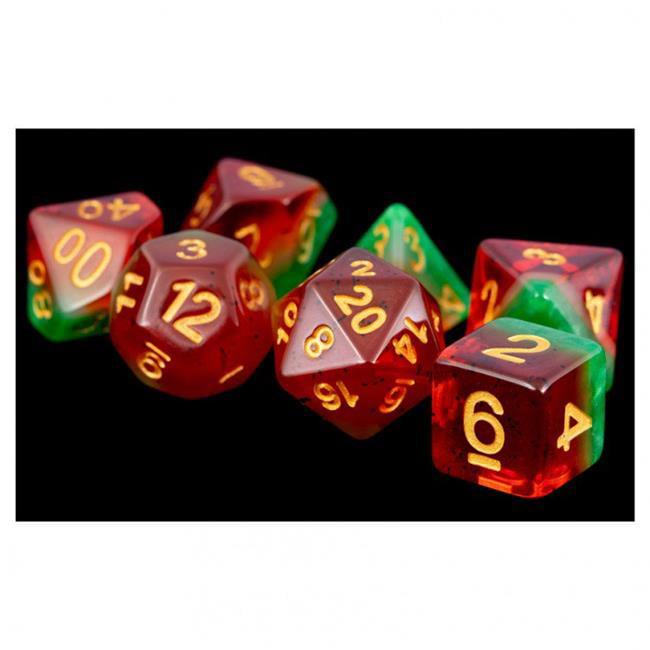 Metallic Dice Games LIC615 16 mm Fruit Polyhedral Dice Set, Watermelon & Gold - Set of 7