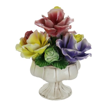 """Capodimonte Authentic Italian Yellow Rose, Pink & Purple Flower Quattro Stand Authentic Made in Italy 10"""" x (Italian Flowers)"""