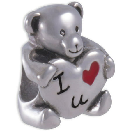 "Connections from Hallmark Stainless-Steel ""I Love U"" Teddy Bear Charm"