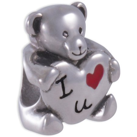 Sterling Silver Chicago Bears Charm - Stainless-Steel I Love U Teddy Bear Charm