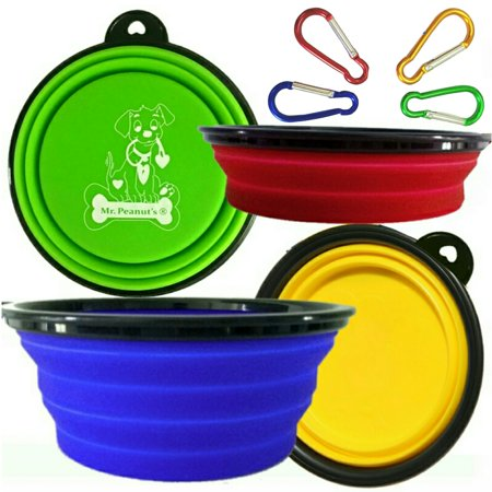 Premium Collapsible Dog Bowls, Set of 4 Colors, Dishwasher Safe BPA FREE Food Grade Silicone Portable Pet Bowls, Perfect Travel Bowls for Feed & Water on Journeys, Hiking, Kennels & Camping Kyjen Travel Bowl