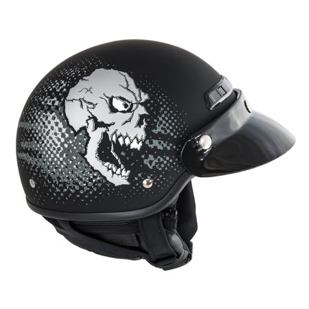Raider Deluxe Half Helmet w/Zip-Off Curtain Motorcycle Scooter