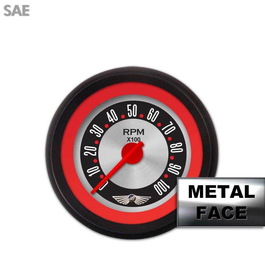 Tachometer Gauge with emblem - American Retro Rodder Red Ring V, Red Modern