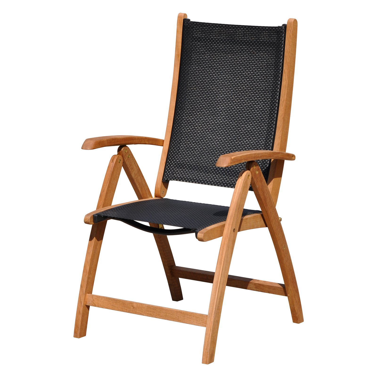 Courtyard Casual Natural Finish Burma Teak and Sling Outdoor Chair by Courtyard Casual