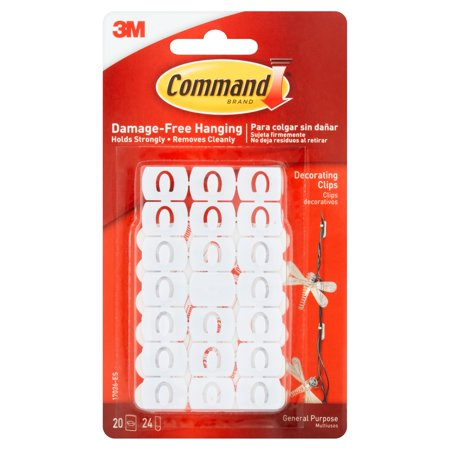 Command Decorating Clips, White, 20 Clips, 24 Strips/Pack
