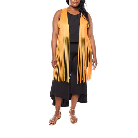ffce4badabf Cleo Apparel Suede Fringe Vest C1107X-Yellow-XL - Walmart.com