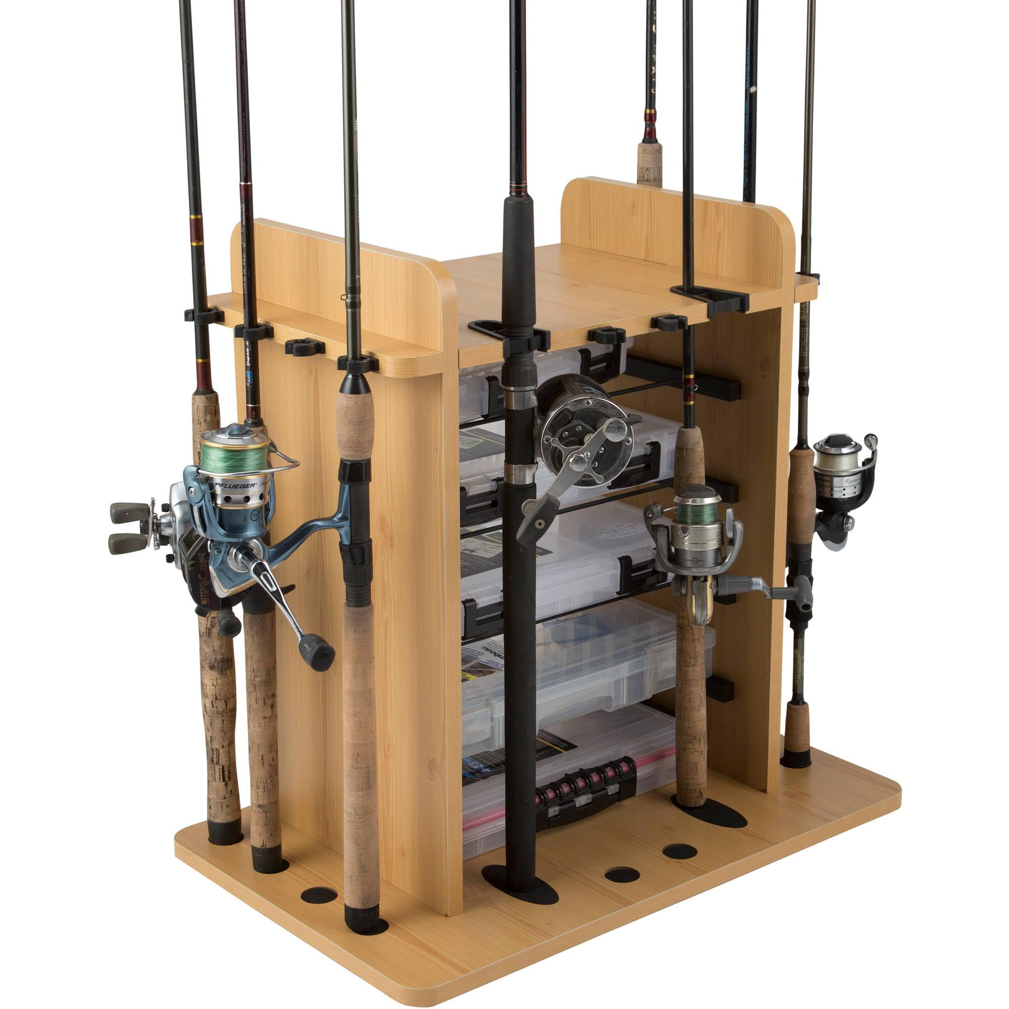 Click here to buy Rush Creek Creations 14 Fishing Rod Rack with 4 Bait Bin Storage by Rush Creek Creations.