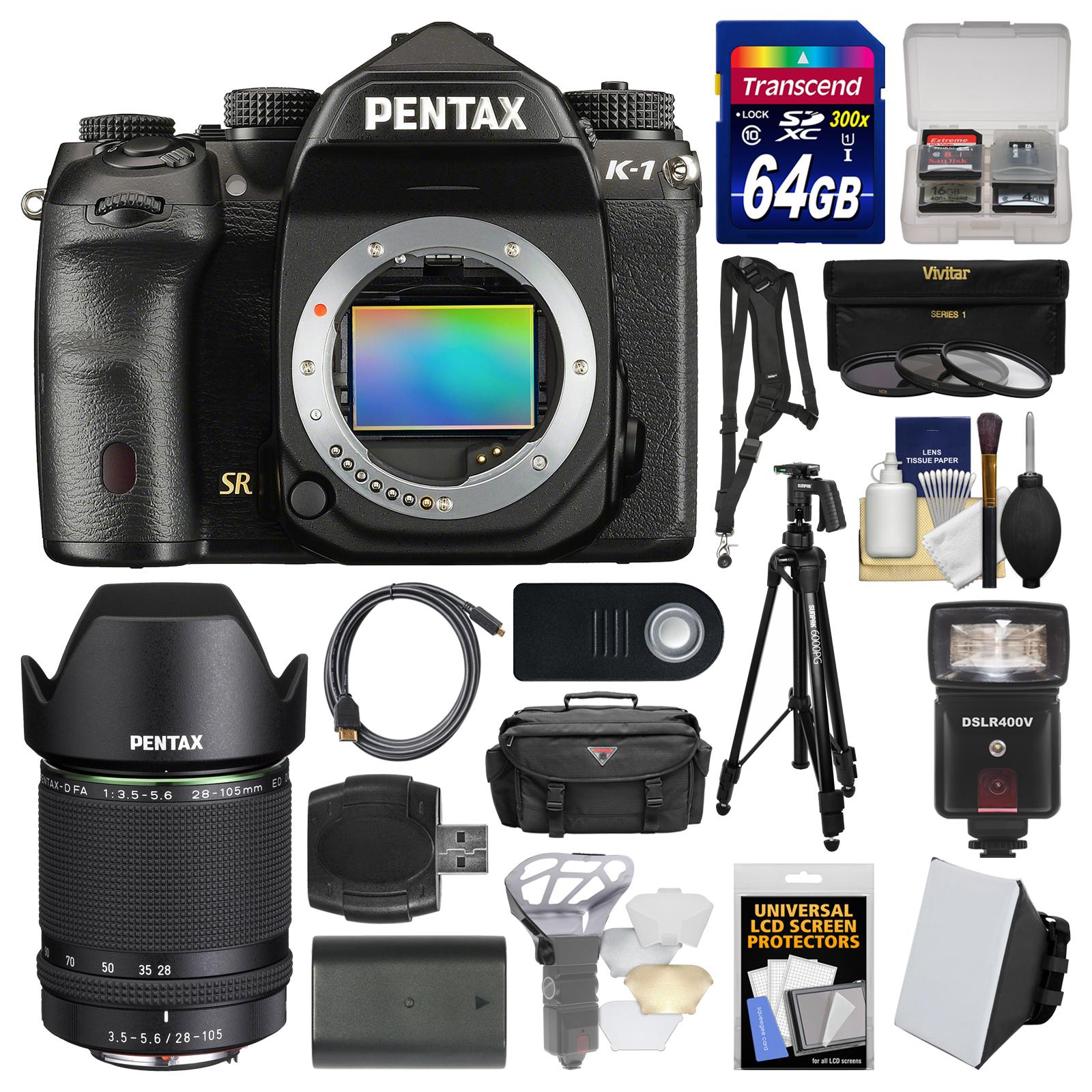 Pentax K-1 Full Frame Wi-Fi Digital SLR Camera Body with FA 28-105mm WR Lens + 64GB Card + Case + Flash + Soft Box + Diffuser Kit