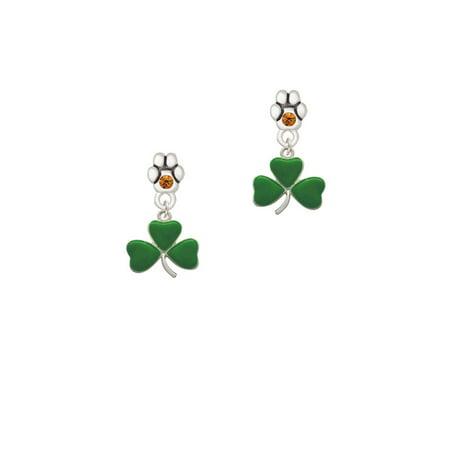 Green Three Leaf Clover - Shamrock - Yellow Crystal Paw Earrings