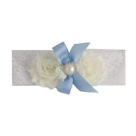 Ribbon Striped Garter (Vintage White and Blue Bride Wedding Garter with Flower and)