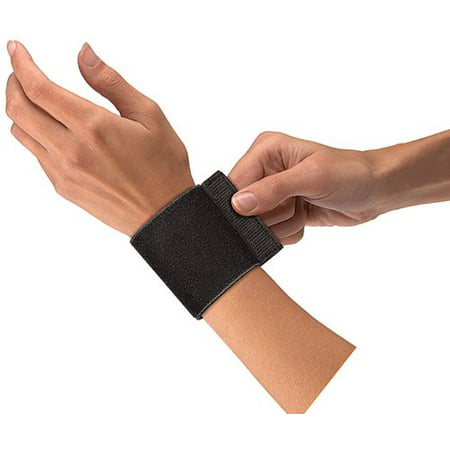 Mueller Elastic Wrist Support with Loop, Black, One Size Fits Most