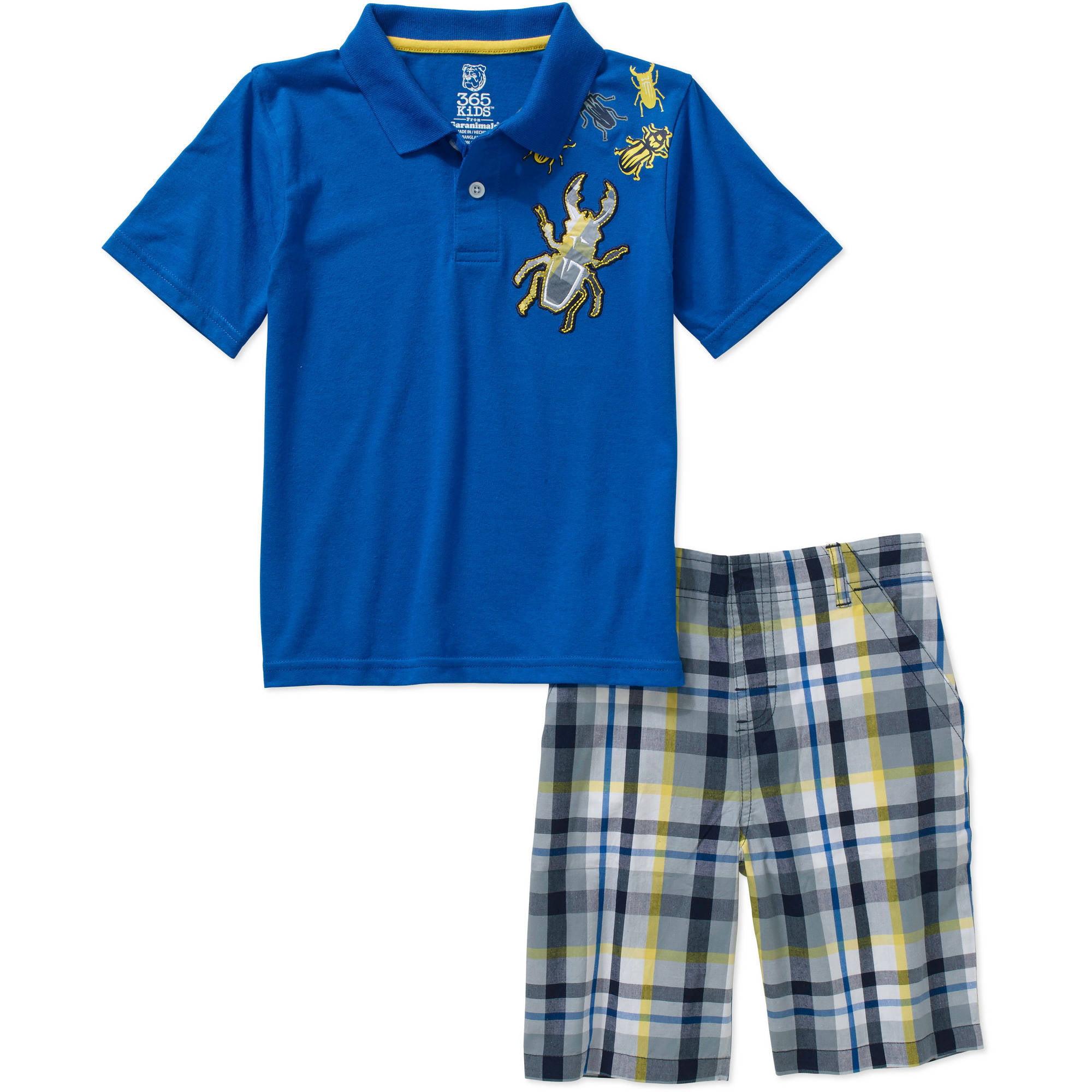 365 Kids From Garanimals Boys' 2 Piece Polo Shirt & Plaid Short Set
