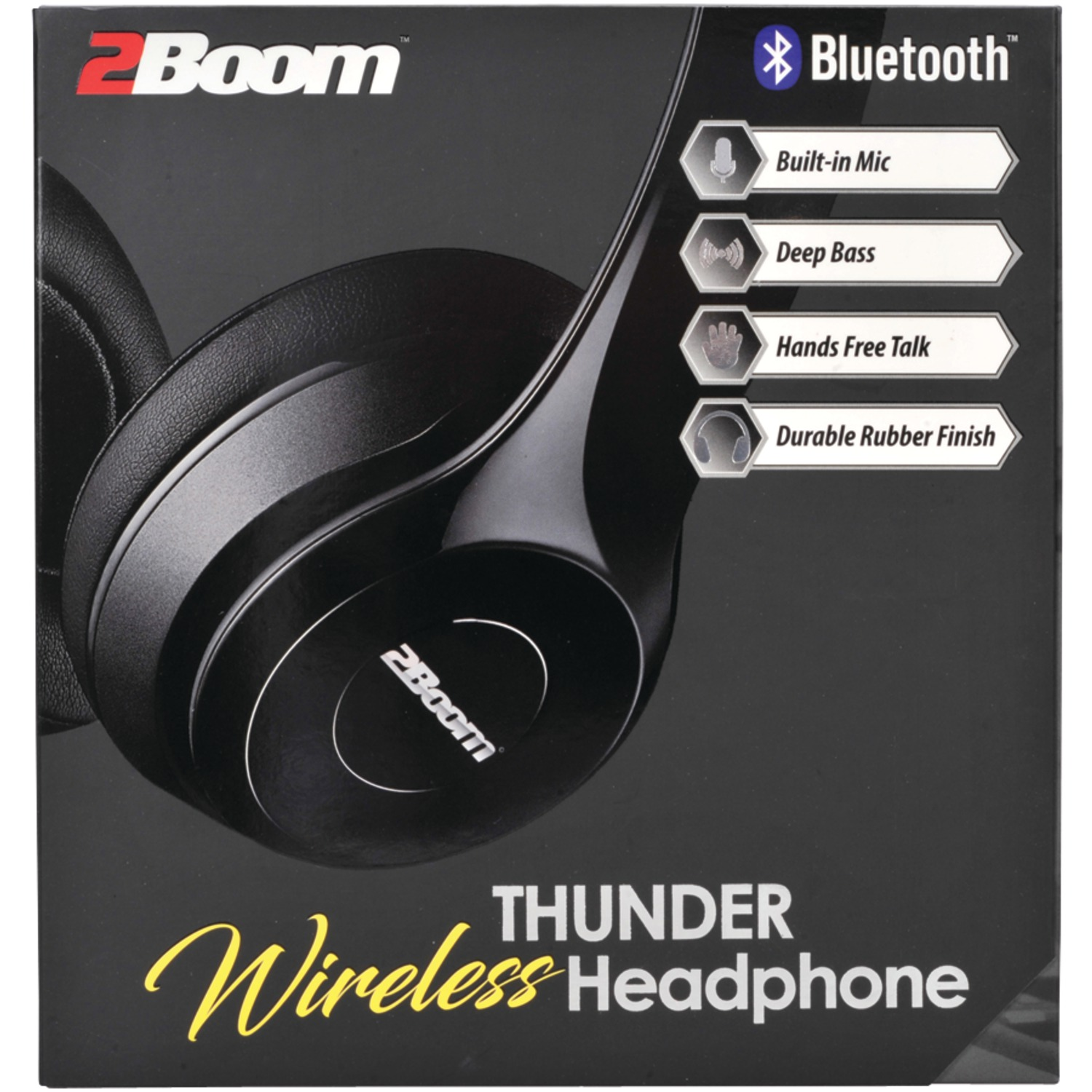2BOOM HPBT345K Thunder Bluetooth Over-Ear Headphones with Microphone (Black)