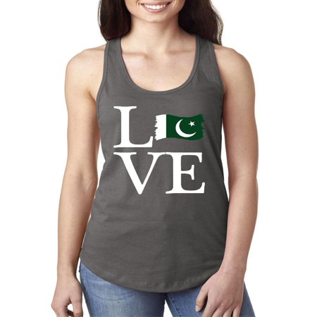 Pakistani Clothes - Love Pakistan Women Tops Next Level Racerback Tank Top