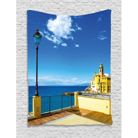 Italian Decor Tapestry, Camogli Church Sea Lamp and Balcony Tourist Spot in Ligury Italy, Wall Hanging for Bedroom Living Room Dorm Decor, 60W X 80L Inches, Blue White and Yellow, by Ambesonne Spot Lamp 60w Screw