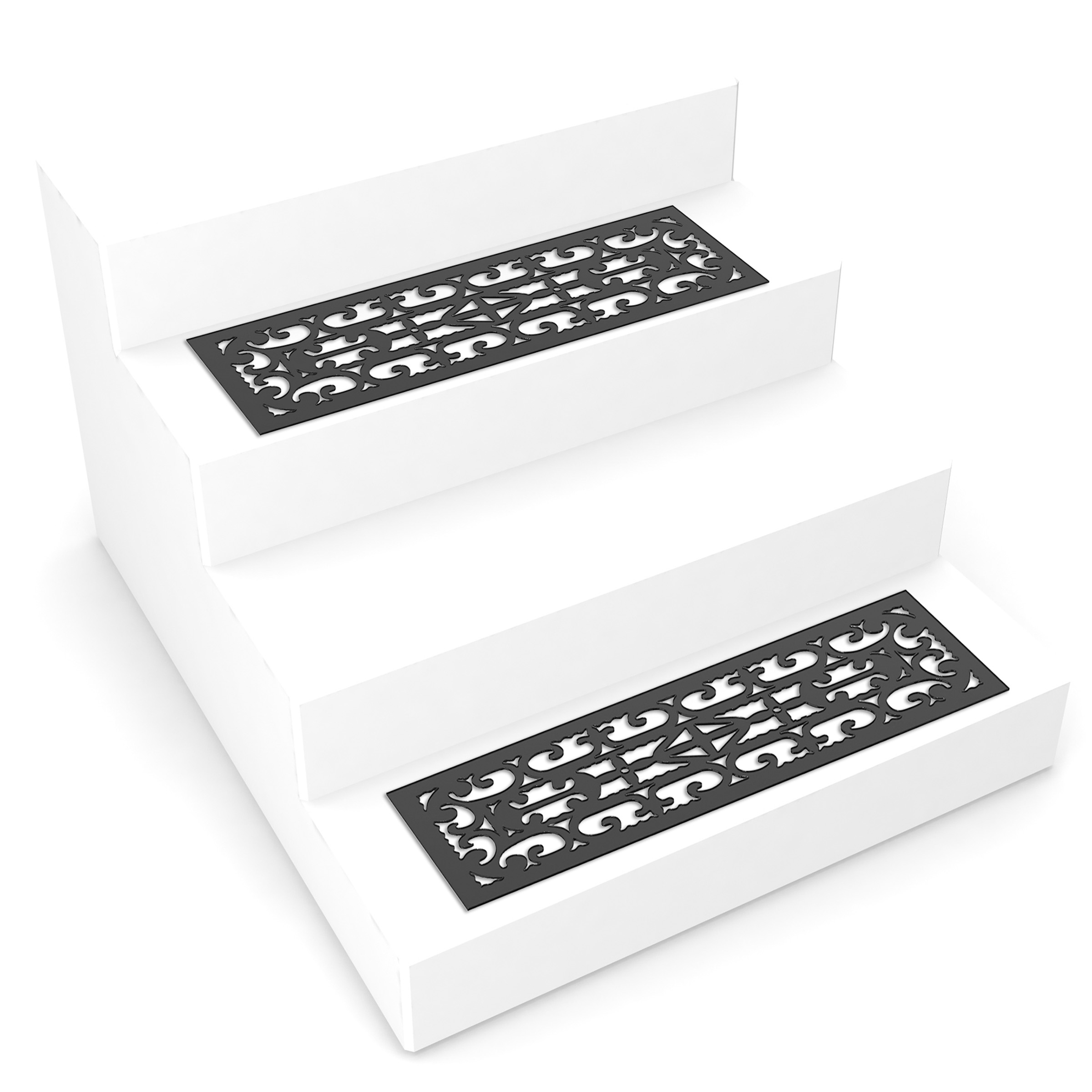 Non Slip Stair Mats With Traction Control Grip   Set Of 2 Black Mat Pads