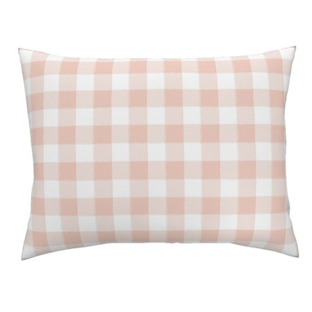 Buffalo Check Plaid Blush Pink Baby Girl Gingham Pillow Sham by Roostery ()