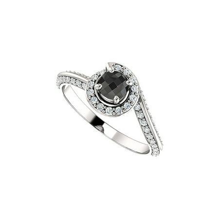 Black Onyx Cubic Zirconia Swirl Halo Ring 925 Silver
