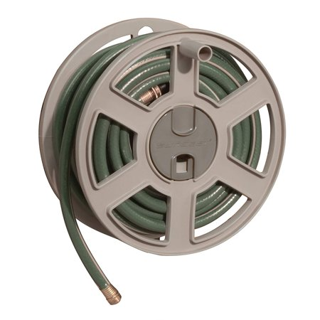 Image of Sidetracker Garden Hose Reel - Fully Assembled Outdoor Wall Mount Tracker with Removable Reel - 100' Hose Capacity - TaupeRemovable reel for winter hose.., By Suncast