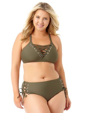 Product Image Allure Juniors Plus Size Lace Up Side Pant Swim Bottom 3f6eb97e72bef