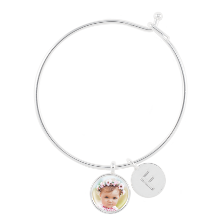 - Bangle Bracelet with Photo Charm and Letter Charm
