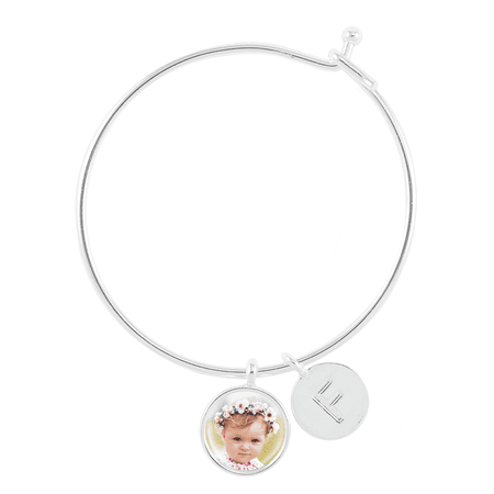 Bangle Bracelet with Photo Charm and Letter Charm