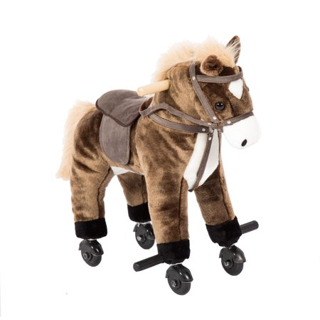 Kinbor Kids Children Girls Boys Walking Pony Ride on Horse Rocking Toy Neigh Sound w/Wheels Brown](Horse Racing Toy)