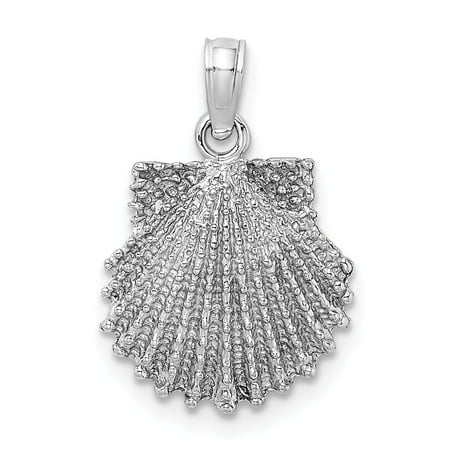 14K White Gold Solid 2-D Beaded Scallop Shell Charm Pendant Fine Jewelry Ideal Gifts 14k Scallop Shell Charm