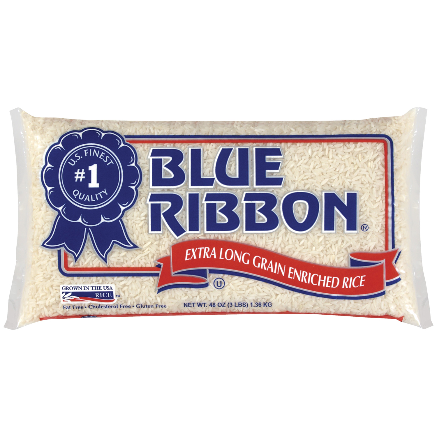 Blue Ribbon, Extra Long grain Enriched Rice, 48 OZ