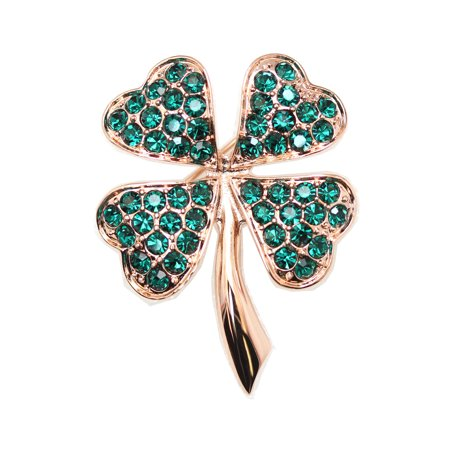 Faship Gorgeous Green Shamrock Clover Leaf Pin Brooch - Emerald-4 - Glitter Shamrock Pin