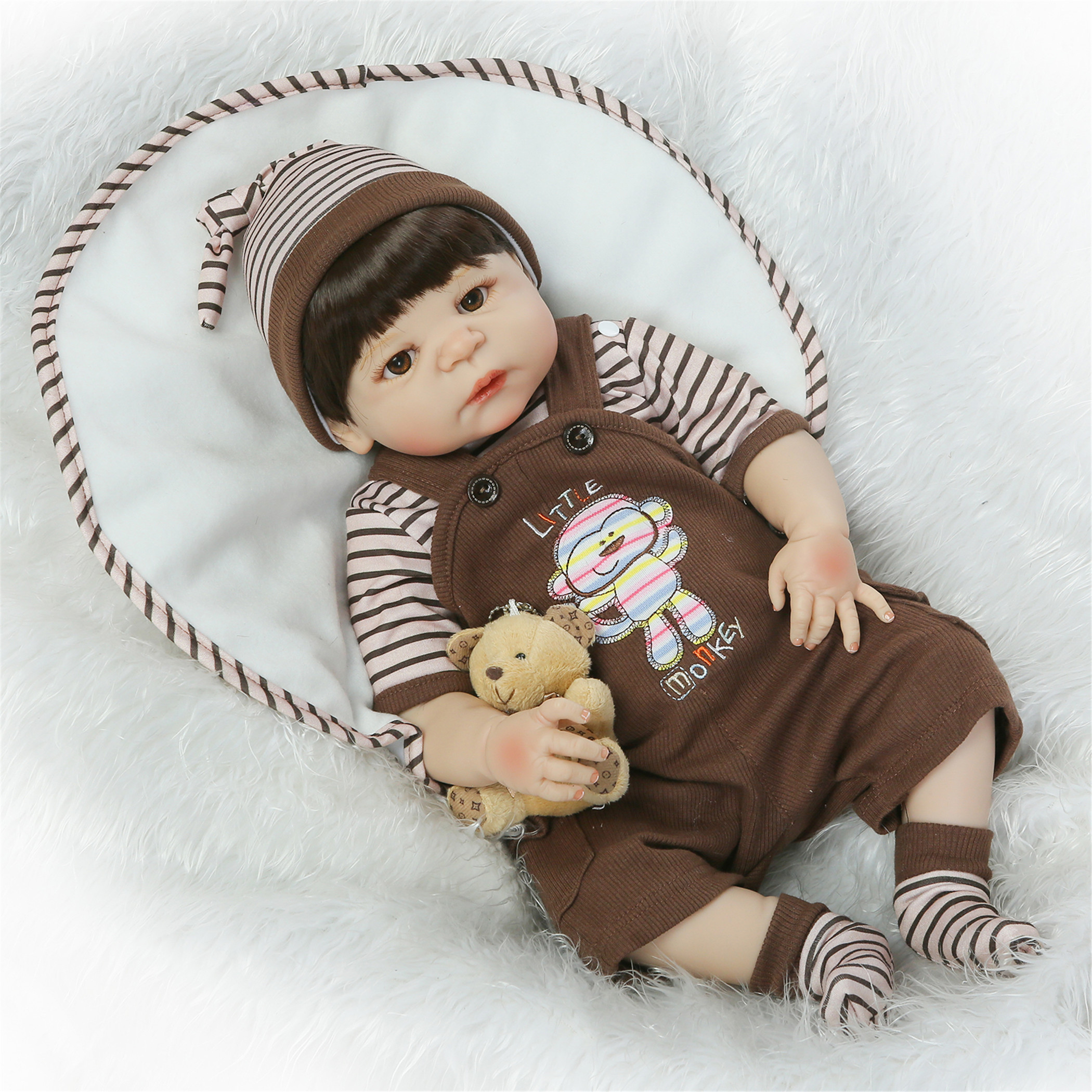 NPK Collection Reborn Baby Doll Soft Silicone Vinyl 22inch 55cm Lovely Lifelike Cute Birthday Gift Christmas