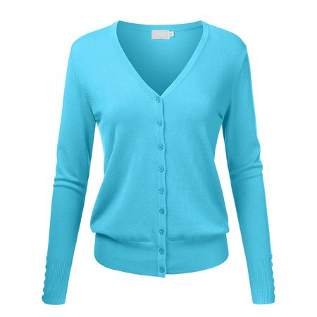 Women's V-Neck Button Down Long Sleeve Classic Knit Cardigan Sweater - Classic Christmas Sweaters