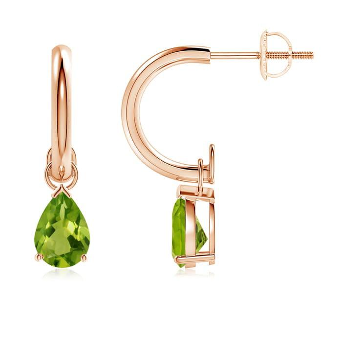 Angara Rose Gold Pear Shaped Peridot Earrings 3KKPONm