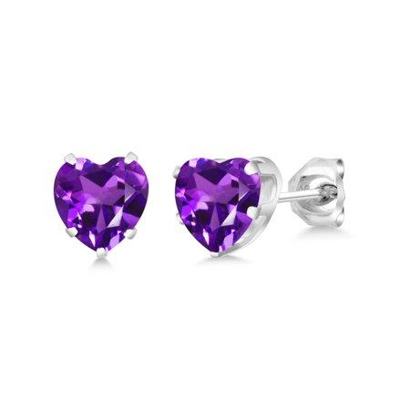 1.48 Ct Heart Shape 6mm Purple Amethyst 925 Sterling Silver Stud (Amethyst Heart Earrings)