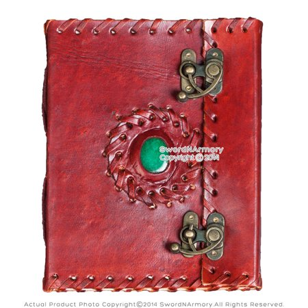 Medieval Renaissance Leather Journal Diary Notebook Notepad w/Lock & Green Stone