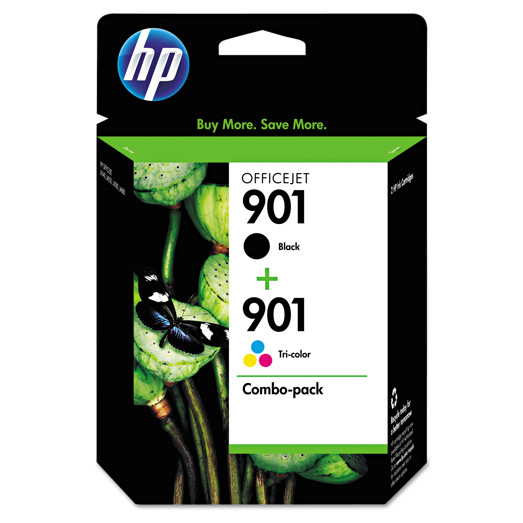 HP 901, (CN069FN) Black/Tri-color 2-pack Original Ink Cartridges