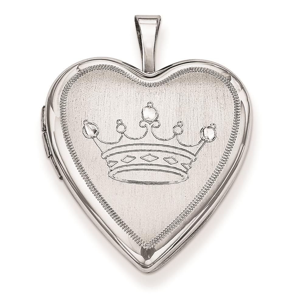 Sterling Silver 20mm & Diamond Cut Crown Heart and Polished Locket 25mmx20mm