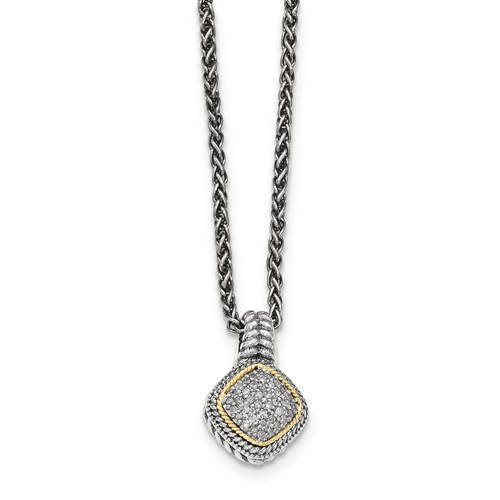Sterling Silver w/14k Gold plated Diamond Pendant