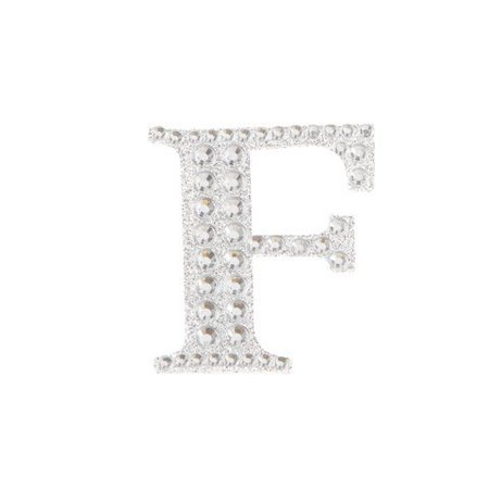 Attach this silver monogram F bling sticker to gift wrap to create a customized present. The shiny accents reflect light for a brilliant gift presentation.