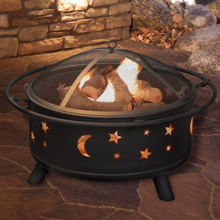 Fire Pit Stars - Pure Garden Star and Moon Fire Pit with Cover