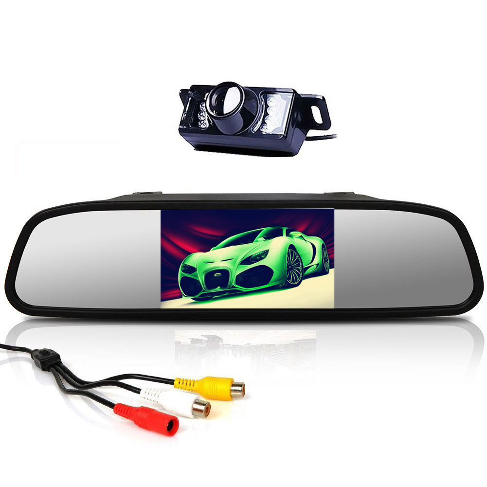 4.3 Color TFT LCD Car Rearview Monitor with HD IR Night Vision Car Rear View Reversing Video Camera 170/° Waterproof Car Parking System