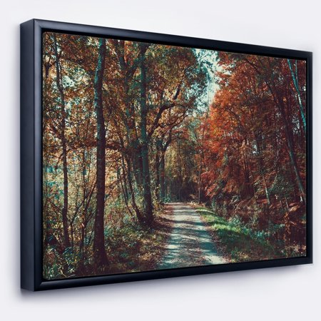 DESIGN ART Designart 'Road Through Red Fall Forest' Landscape Photo Framed Canvas Art Print